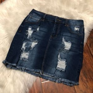 Wax Jeans Ripped Skirt